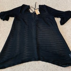 Black Sheer Tunic with Bell Sleeves